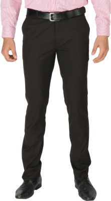Zido Slim Fit Men's Brown Trousers