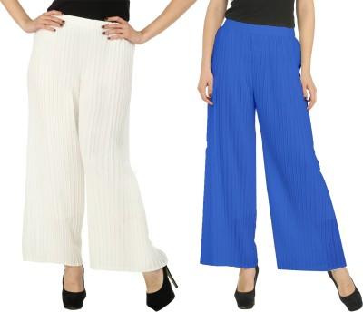 Civilized Showdown Regular Fit Women's White, Blue Trousers