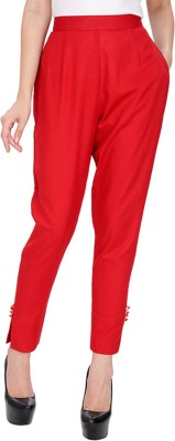 AliColours Slim Fit Women's Red Trousers
