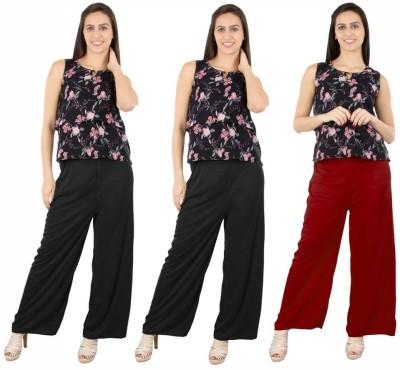 Fashion Flow+ Regular Fit Women's Black, Black, Maroon Trousers