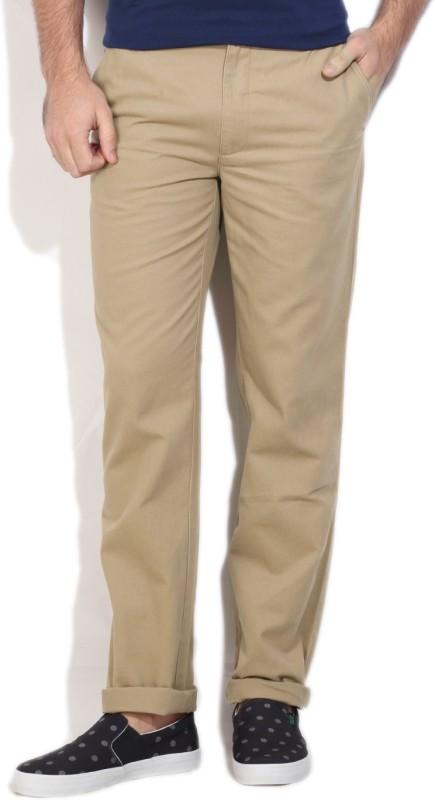 John Players Regular Fit Men's Beige Trousers