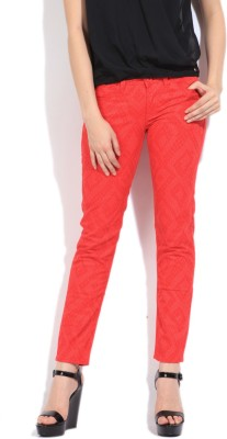 Flying Machine Skinny Fit Women's Red Trousers