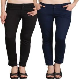 NGT Slim Fit Women's Black, Dark Blue Trousers