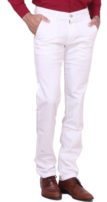 Dad Regular Fit Men's White Trousers