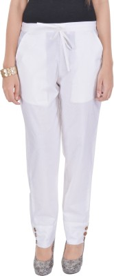 Poopii Regular Fit Women's White Trousers