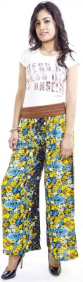 Cotton Flake Regular Fit Women's Yellow, Light Blue Trousers