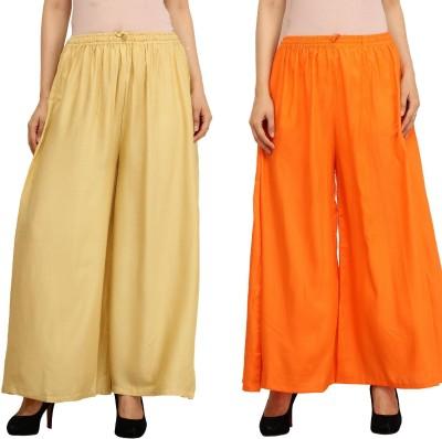 Guru Nanak Fashions Regular Fit Women's Beige, Orange Trousers