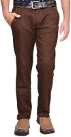 British Terminal Slim Fit Mens Linen Brown Trousers