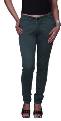 Divaline Slim Fit Women's Dark Green Trousers