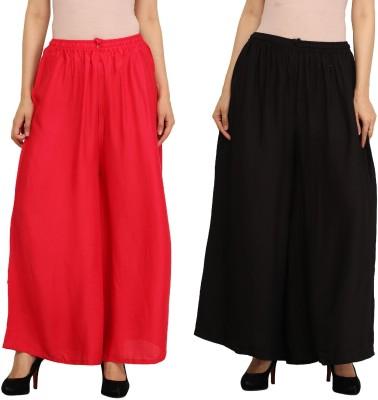 Guru Nanak Fashions Regular Fit Women's Red, Black Trousers