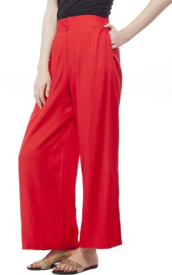 Pistaa Regular Fit Women's Red Trousers
