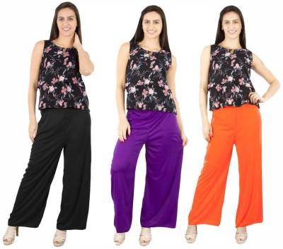 Fashion Flow+ Regular Fit Women's Black, Purple, Orange Trousers
