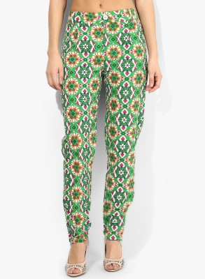 Fashion67 Slim Fit Women's Light Green, White, Orange Trousers