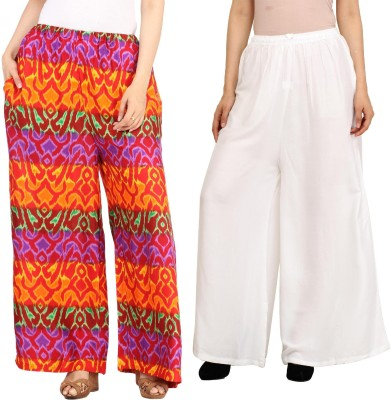 Guru Nanak Fashions Regular Fit Women's Multicolor, White Trousers