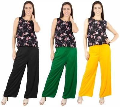 Fashion Flow+ Regular Fit Women's Black, Green, Yellow Trousers