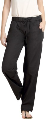 Loco En Cabeza Regular Fit Women's Linen Black Trousers