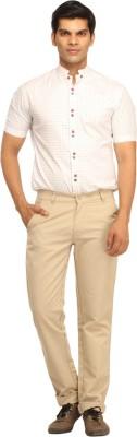 Cotton Berry Slim Fit Men's Beige Trousers