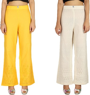 Quetzal Regular Fit Women's White, Yellow Trousers