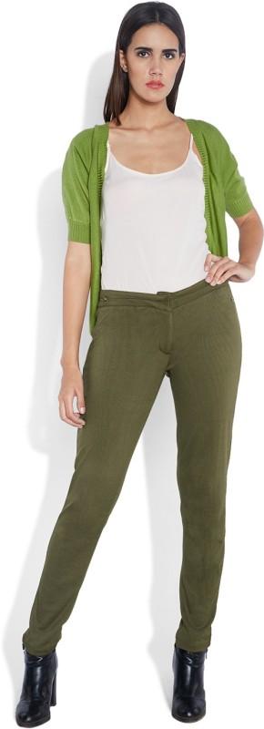 Park Avenue Skinny Fit Women's Green Trousers