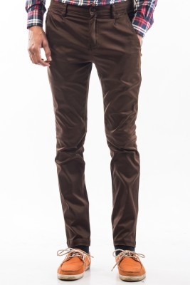 Srota Slim Fit Men's Brown Trousers