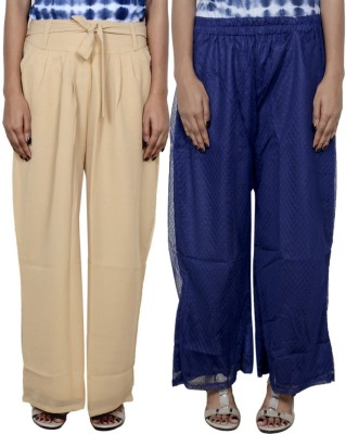 Tullis Regular Fit Women's Beige, Blue Trousers