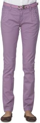 Ixia Slim Fit Women's Purple Trousers