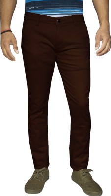 Oiin Slim Fit Men's Brown Trousers