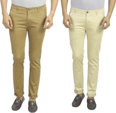 Masterly Weft Slim Fit Men's Beige, Cream Trousers