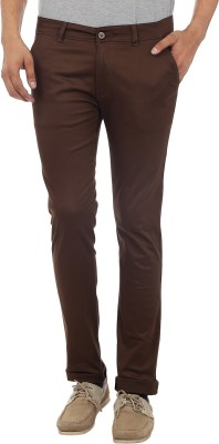 Custom Creation Slim Fit Men's Brown Trousers