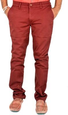 Indigen Slim Fit Men's Maroon Trousers