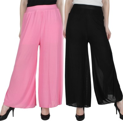 Manash Fashion Regular Fit Women's Pink, Black Trousers at flipkart