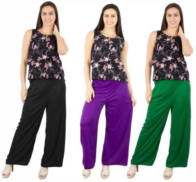 Fashion Flow+ Regular Fit Women's Black, Purple, Green Trousers