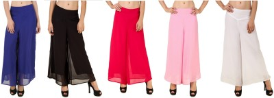 CHIKFAB Regular Fit Women's Blue, Black, Pink, Pink, White Trousers