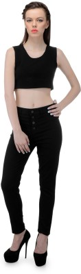 FIBRE WORLD Slim Fit Women's Black Trousers