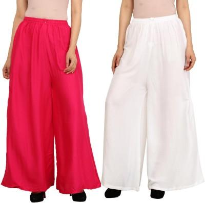 Guru Nanak Fashions Regular Fit Women's Pink, White Trousers