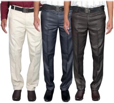 RICH PERK Slim Fit Men's Black, Dark Blue, Beige Trousers