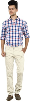 Carbon Slim Fit Men's Cream Trousers