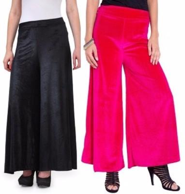 Viba London Regular Fit Women's Black, Pink Trousers