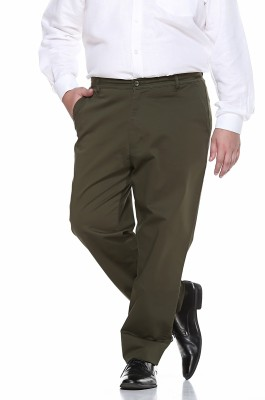 PlusS Regular Fit Men,s Green Trousers
