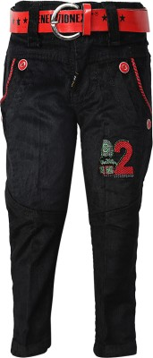 Generationext Regular Fit Baby Boy's Black, Red Trousers