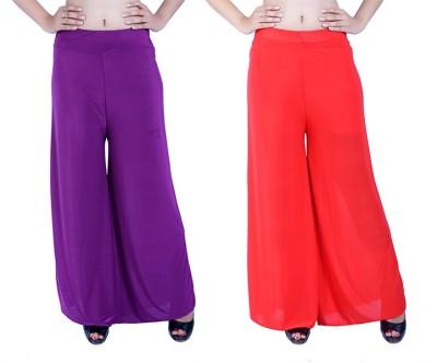 Ajaero Regular Fit Women's Purple, Red Trousers