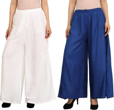 Guru Nanak Fashions Regular Fit Women's White, Blue Trousers