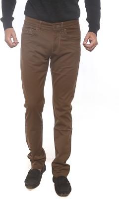 Spykar Slim Fit Men's Brown Trousers