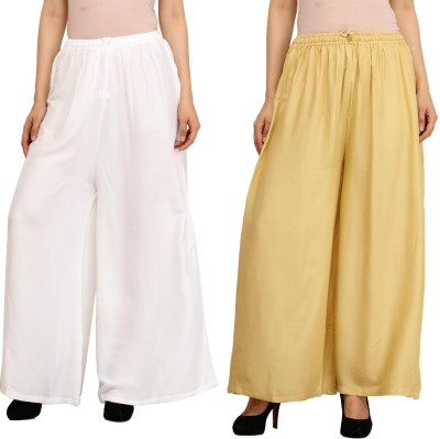 Guru Nanak Fashions Regular Fit Women's White, Beige Trousers