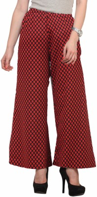 Cottinfab Regular Fit Women's Red, Black Trousers at flipkart