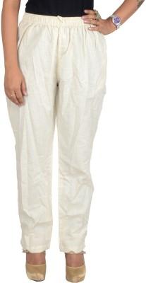 Shopatplaces Regular Fit Women's White Trousers