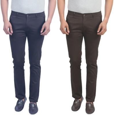Masterly Weft Slim Fit Men's Dark Blue, Brown Trousers