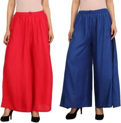 Guru Nanak Fashions Regular Fit Women's Red, Blue Trousers