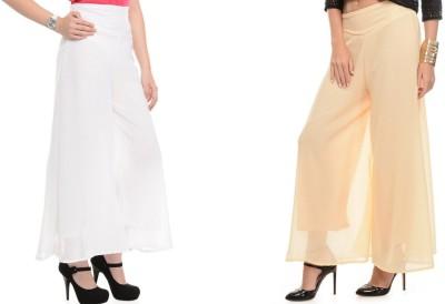 Kyron Regular Fit Women,s Beige, White Trousers