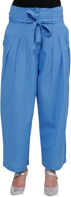Oxolloxo Regular Fit Women's Linen Blue Trousers at flipkart